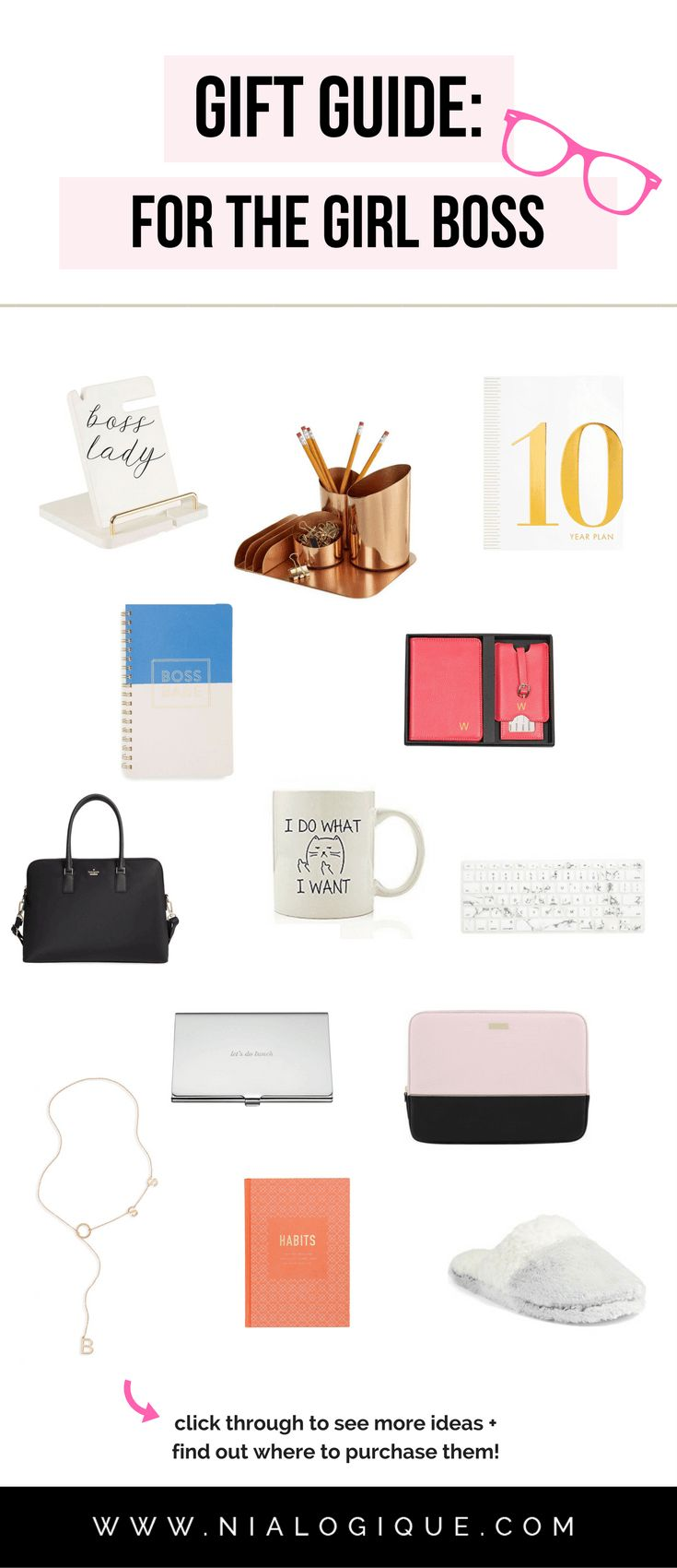 Gift Guide: For The #GirlBoss | 20 gorgeous, fun, and useful gifts for the female #entrepreneur, creative, or #blogger in your life. | #giftguide #christmas #holidays #birthday #valentinesday #bosslady #giftsforher #giftideas