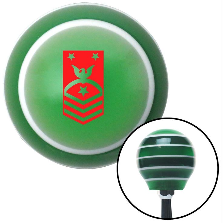 Red Force or Fleet Command Green Stripe Shift Knob with M16 x 15 Insert