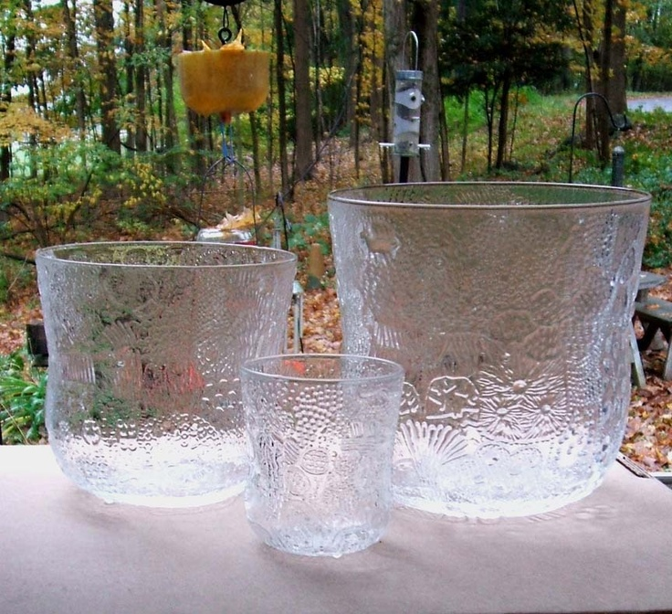 Oiva Toikka Iittala Arabia Nuutajarvi Fauna 3 Art Glass Bowl Vases from missingmemories on Ruby Lane