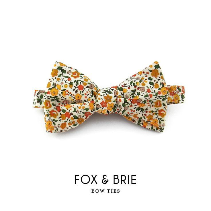 mustard floral bow tie // fox & brie