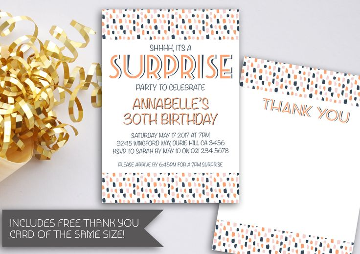 Surprise Birthday Invitation | Surprise Party Invitation | Art Deco Invitation | Surprise Birthday Party | Shhh It's A Surprise (094) by kellylouisedesigns on Etsy