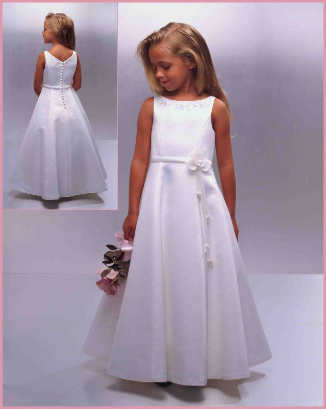 Buy 2013 bonny Absorbing Satin Custom Hot Sale White Round Neckline Flower Floor Length Online Cheap Prices