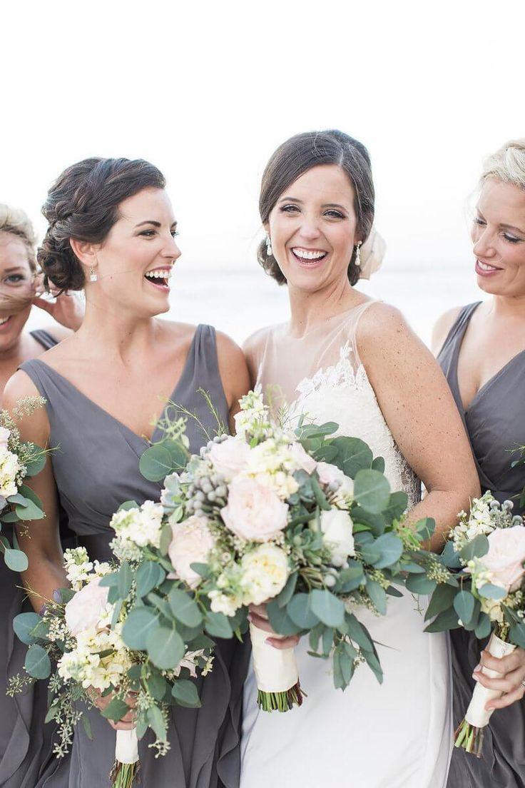 Neutral Colored Beach Wedding – Grey Bridesmaids Style