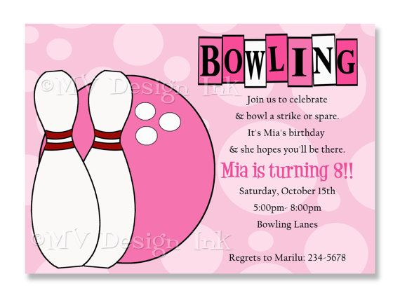 45 best Bowling Party images on Pinterest Birthdays, Bowling and - bowling invitation