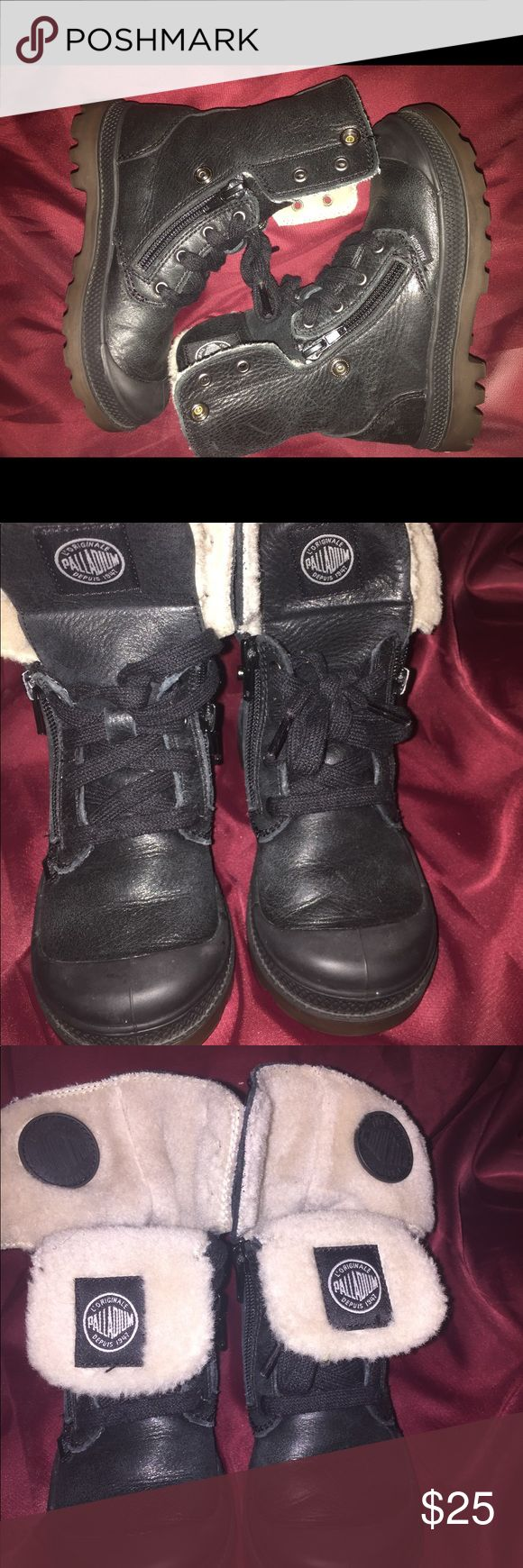 Palladium boy/girl fleece lined sneaker boots. Palladium boy/girl fleece lined sneaker boots. Can be worn as combat boots or ankle boors. These boots were great for winter. Tried getting them again this year but they no longer have them. Gently used no damages, pet free/smoke free home. Palladium Shoes Boots