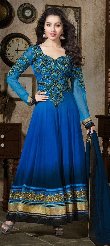 407520, Bollywood Salwar Kameez, Georgette, Machine Embroidery, Resham, Stone, Patch, Zari, Blue Color Family