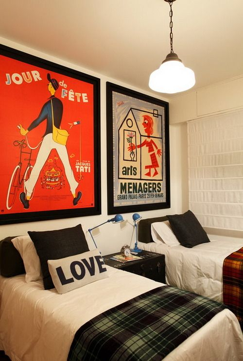 very cool for a boys bedroom. art instead of headboards + bolster