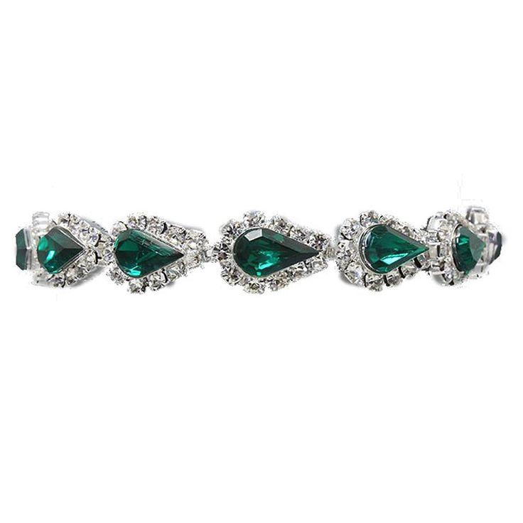 Glitzy Glamour Emerald Teardrop Crystal Diamante Tennis Bracelet