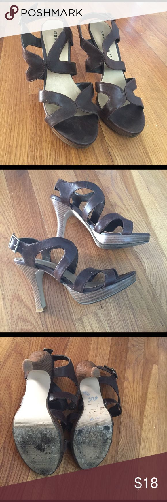 Brown strappy heel Brown strappy Madden girl heel. Gently worn but can only tell on heel, otherwise great condition. Madden Girl Shoes Heels