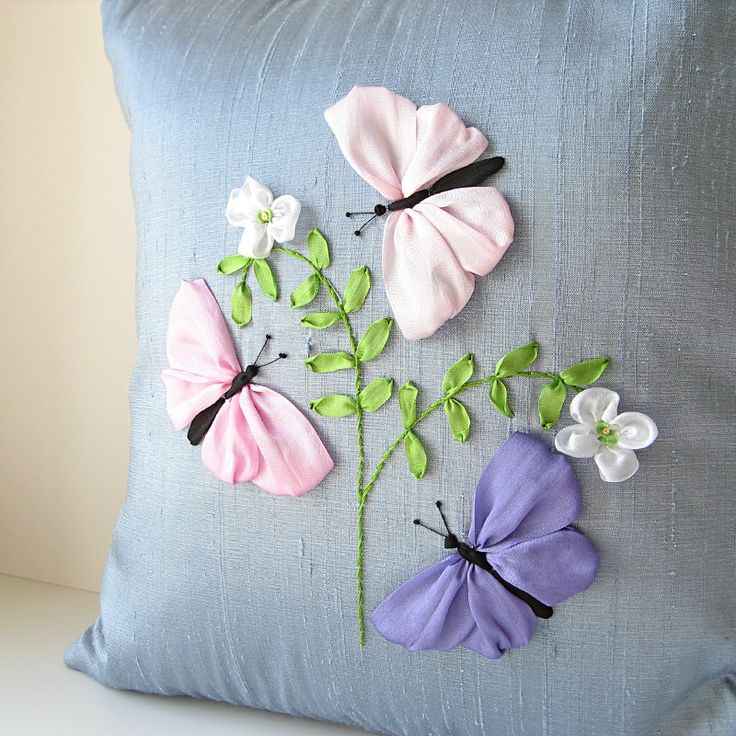Silk Butterflies Pillow pastel color silk ribbon embroidery. $65.00, via Etsy.