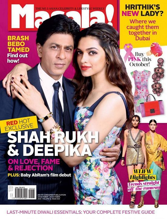 Deepika Padukone posed with her movie, Happy New Year co-star Sharukh Khan on the cover page of Masala! Magazine edition for the month of October 2014.
