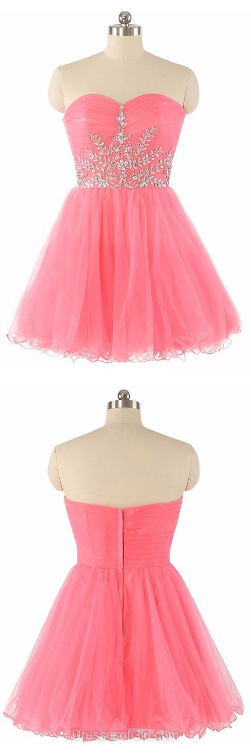 Cheap Homecoming Dresses, Short Prom Dresses, Sweetheart Party Dresses, Beading Cute Cocktail Dress, Casual Summer Dresses For Teens