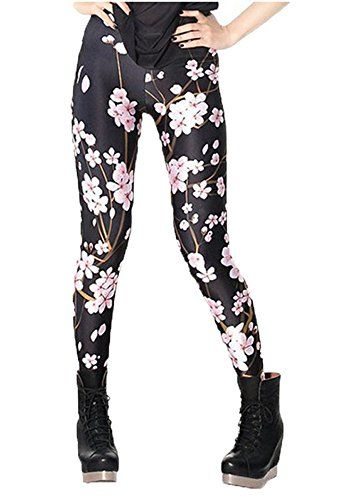 f27a85e853d633 awesome DODOING Blumen Muster Leggings Damen Lang Hose Gym Workout Leggins  Legins Ladies Stretch Yoga Pants