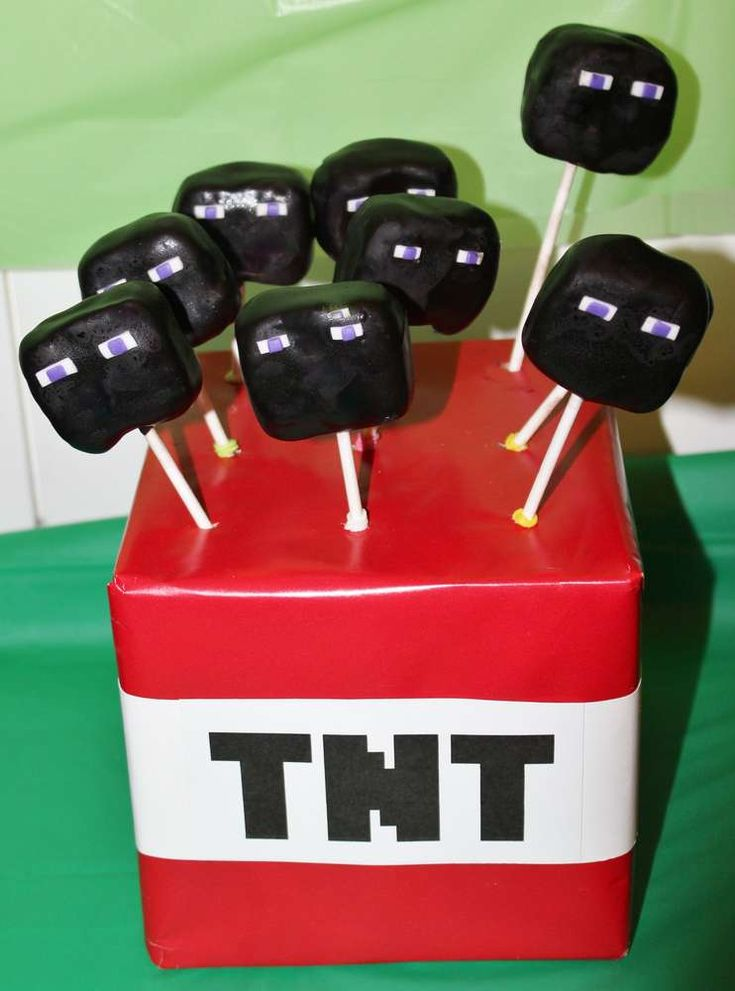 Enderman cake pops at a Minecraft Birthday Party!  See more party planning ideas at CatchMyParty.com!