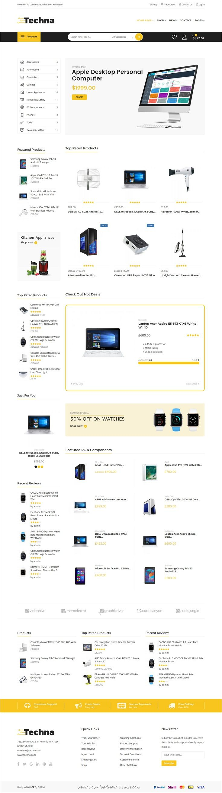 Techna is clean and modern design 4in1 responsive WooCommerce #WordPress theme for #electronic shop #eCommerce website to live preview & download click on Visit