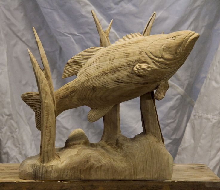 ″ large mouth bass carving wood woods and