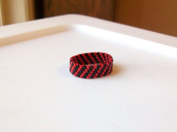 Red and Black Beaded Band Ring  Size 8 by mswolflady on Etsy, $12.00