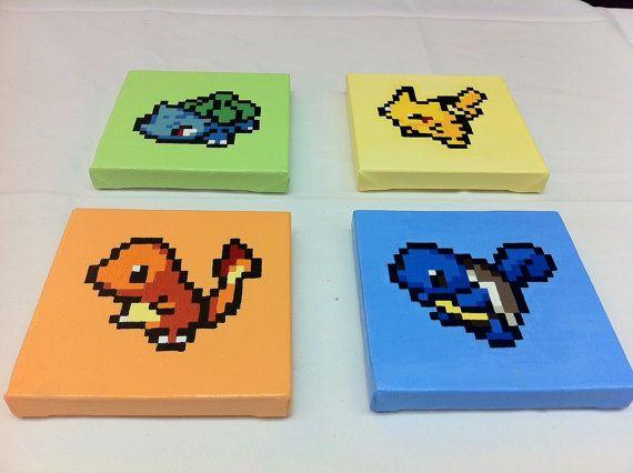 4 Starters Pokémon First Generation Nintendo - 8 bits Pixel Art 6x6 Painting