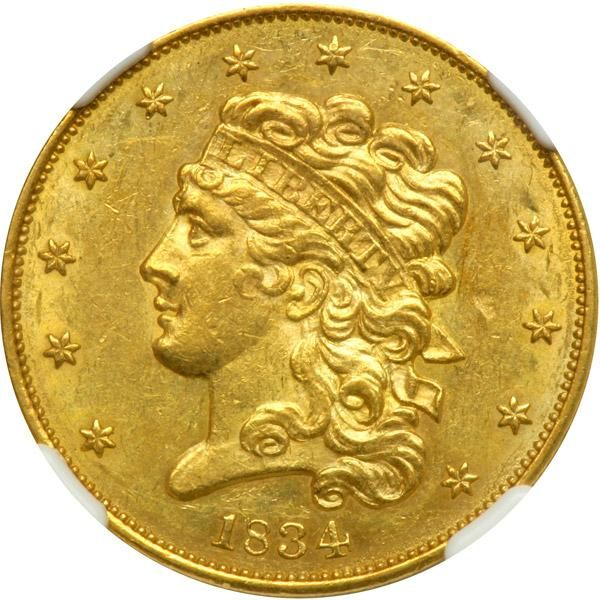 1834 $5 Classic Head. Crosslet 4. NGC MS61 A scarce variety. Light golden toning over lustrous surfaces. A very bold strike. There is a slight planchet flake in the right obverse field (as made) which will serve as identifier. Some normal light marks in the reverse field associated with the grade. It is possible that the mint carried over the Crosslet 4 idea from the previous Capped Bust 1834 design, but then decided to go with the Plain 4 format for the rest of this issue since the Plain 4…