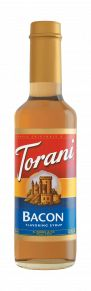 Bacon enthusiasts will recognize the same savory, meaty flavor as authentic bacon in this salty, sweet syrup. Torani Bacon syrup adds savory bacon flavor to cocktails, lattes, sauces and more. Just add 1/2 - 1 oz. of syrup to a 6-8 oz. beverage, and enjoy!