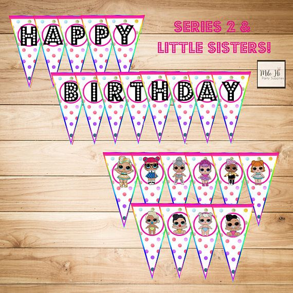 This is an adorable rainbow, LOL Surprise Doll birthday bunting / banner! The banners pendants feature LOL Surprise Dolls from Series 1, Series 2, and Little Sisters! There are over 20 dolls included in the instant download. You can pick and choose which pages to print and use for