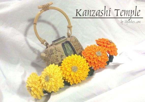 Chrysanthemum Bridge Kanzashi With Leaves Autumn Tones October Flower Traditional Piece
