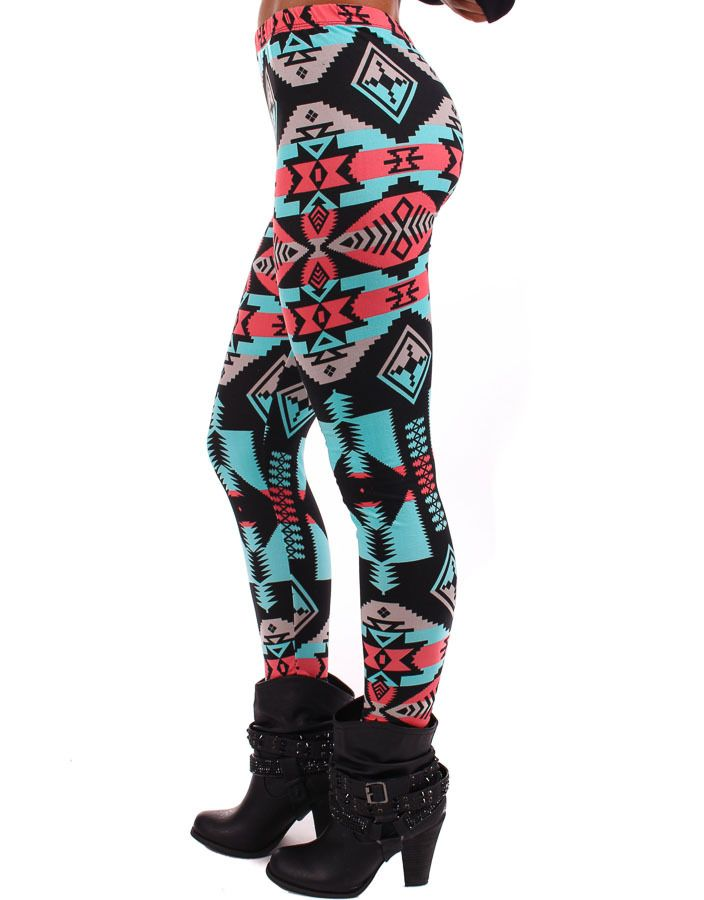 Lime Lush Boutique - Coral and Turquoise Aztec Leggings , $26.99 (http://www.limelush.com/coral-and-turquoise-aztec-leggings/)