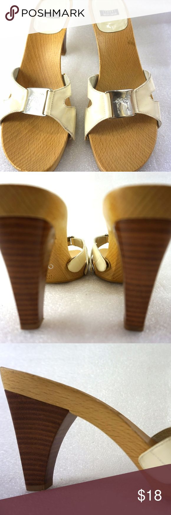 """Stuart Weitzman Wood Heel Sandals White Strap 8M For sale is a pair of wooden open toe heel sandals from Stuart Weitzman  Size: 8M Length: 9"""" from back of heel to front of toe measured with shoe standing up flat to floor Width: 3.1"""" at widest part of sole Heel: 3.6""""  I will ship your shoes within 24 hours  Thank you Stuart Weitzman Shoes Sandals"""