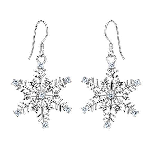 EVER FAITH Women's 925 Sterling Silver CZ Winter Party Snowflake Hook Dangle Earrings. [!]EVER FAITH is a US registered trademark and Ever Faith Jewelry(former name: Kiss Bling) is its only owner. We will pursue legal action against trademark infringement in case of UNAUTHORIZED sale or resale. We have SGS Professional Certification for our Sterling Silver Items. Customers could go to a professional agency for testing them. 925 Sterling Silver is also suitable for sensitive skin to wear…