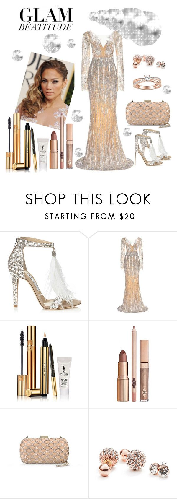 """""""Oscars"""" by xmoonagedaydreamx ❤ liked on Polyvore featuring Jimmy Choo, JLo by Jennifer Lopez, Zuhair Murad, Yves Saint Laurent, Sergio Rossi and GUESS"""