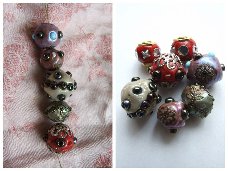 My first Bali-style polymer clay beads