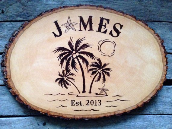 Rustic Palm Tree Family Name Sign Wood Plaque Perfect