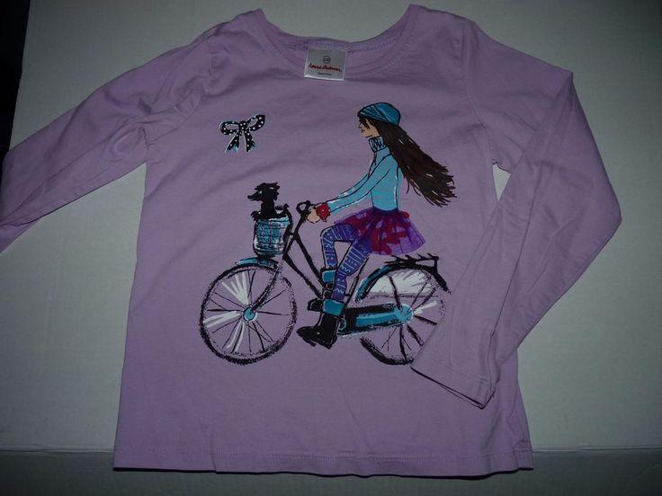 NWOT Hannah Andersson Purple Long Sleeve Tee Shirt Girl Bicycle Poodle Dog 130 #HannaAndersson