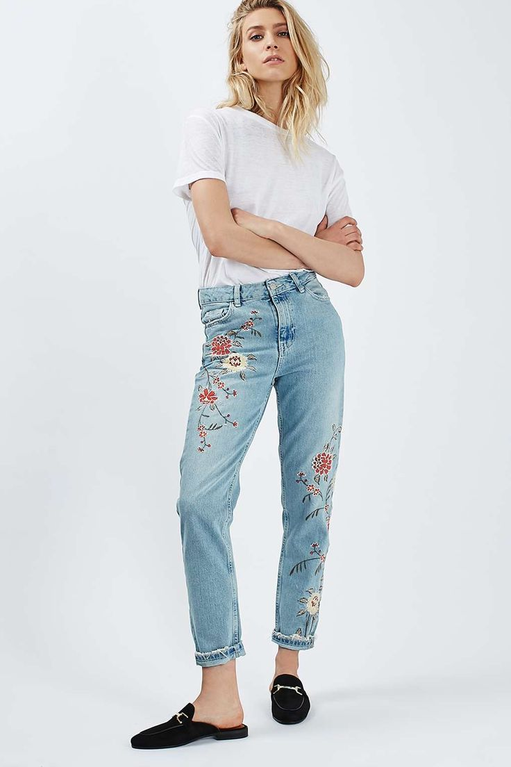 MOTO Floral Embroidered Mom Jeans - Topshop                                                                                                                                                                                 More