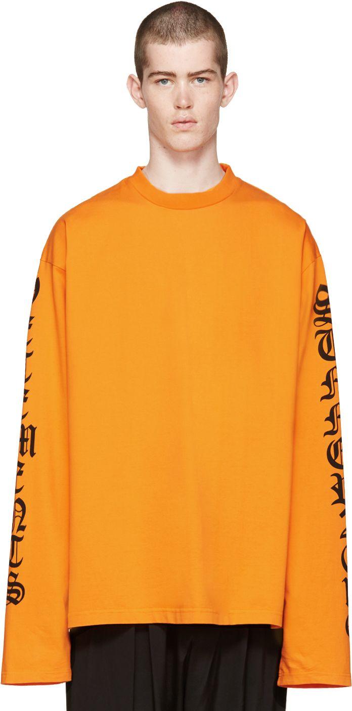Vetements: Orange Oversized Logo Sleeve Pullover