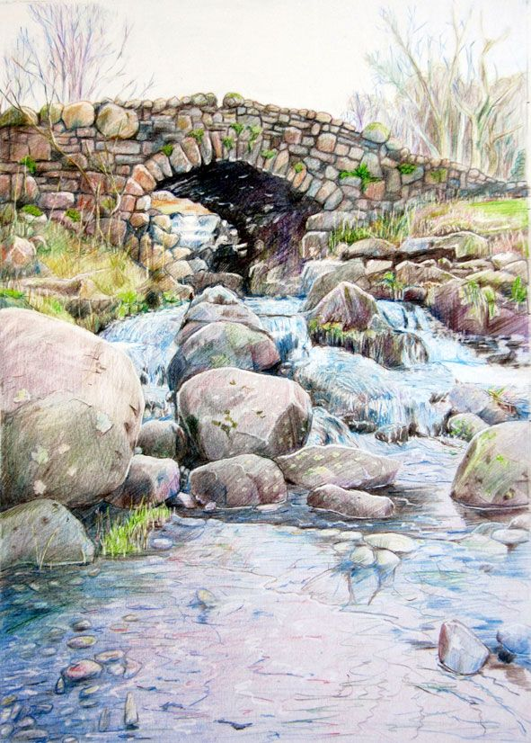 """""""Ashness Bridge, Derwent, Cumbria"""" 25 x 35cm - coloured pencil on Bristol board. Framed.  N.F.S. In collection of The Cumberland Pencil Comp..."""