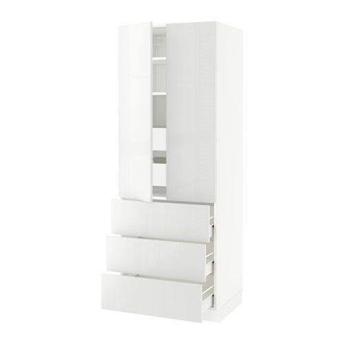 "IKEA - SEKTION, High cabinet w/2 doors & 5 drawers, white, Ringhult high gloss white, 30x24x80 "", Fö, , FÖRVARA drawer can be pulled out to ¾ of its total depth and has plenty of storage space.Sturdy frame construction, 3/4"" thick.You can customize spacing as needed, because the shelves are adjustable.Snap-on hinges can be mounted onto the door without screws, and you can easily remove the door for cleaning."