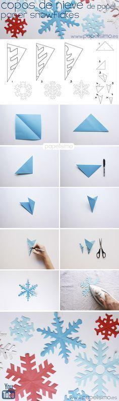 Cómo hacer copos de nieve de papel   http://papelisimo.es/como-hacer-copos-de-nieve-de-papel-paso-a-paso/