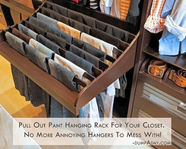 OMG...this is awesome.  Finally a pant hanger that we could adjust the height to be long enough for Mark's pants.  I have to find this.