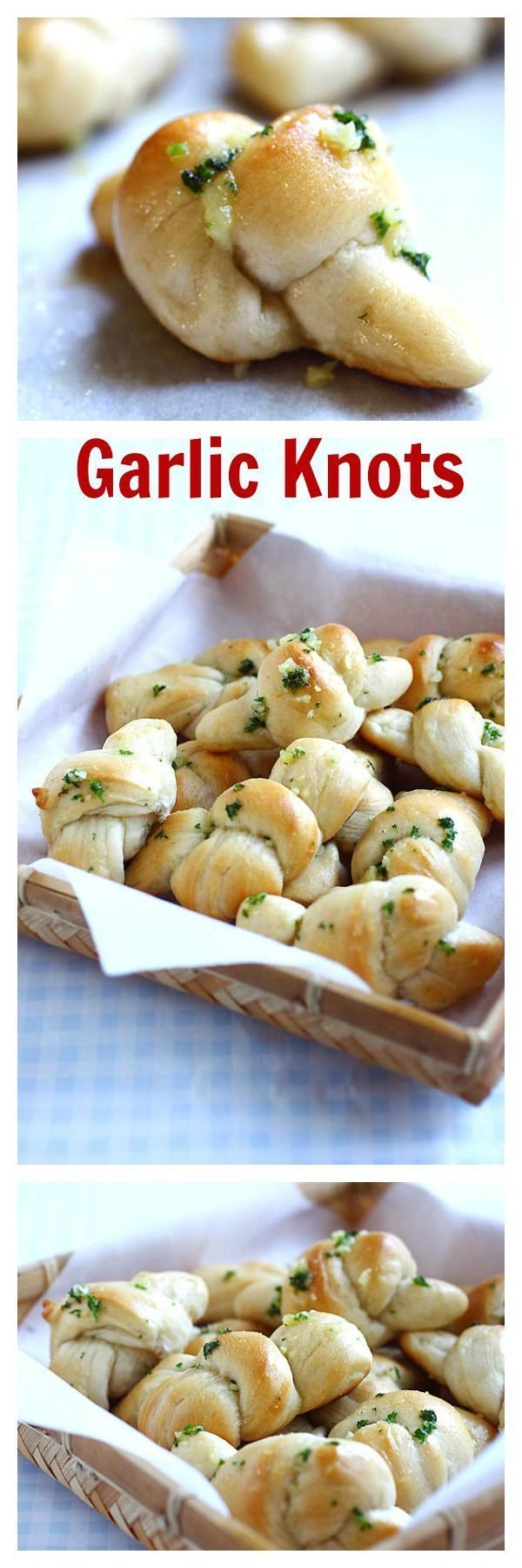 Garlic knots using a store-bought pizza dough and garlic butter. Tasty and easy side dish that everyone will beg for more   rasamalaysia.com