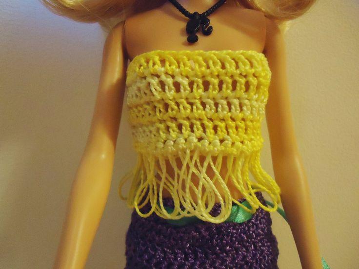 Топ для куклы Барби. Вязание крючком. Crochet T-shirt for Barbie