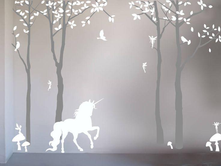 Pinterest Girls Kids Rooms With Wood Wallpaper Magical Unicorn Wall Sticker By Bambizi Kawaii Hime Sama