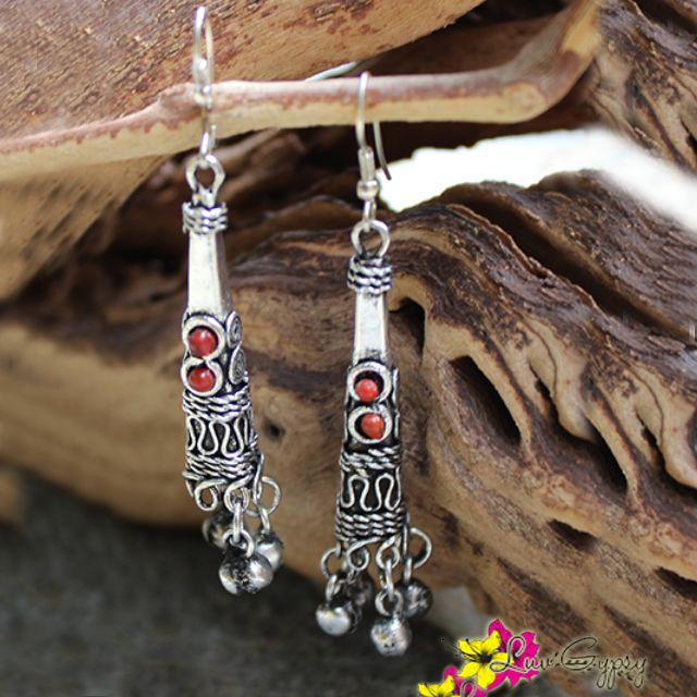 """Adorn your ears with our Janki earrings comes with 2 colors (Black & Red). Enter """"FREESHIPPING"""" for orders $25 and above when you checkout from our online store! #Earrings #Janki #Gypsy #Luvgypsy #Boho #TribalJewelry #Vintage #Bohemian #Silver #Beachwear #Hippie #HippieStyle #Dangles #Fashion #Wanderlust #StatementJewelry #TreasureHunt #Hippie #LuvGypsy #IndianTreasures #Tibet #Tribal #Coral #Red #Black"""