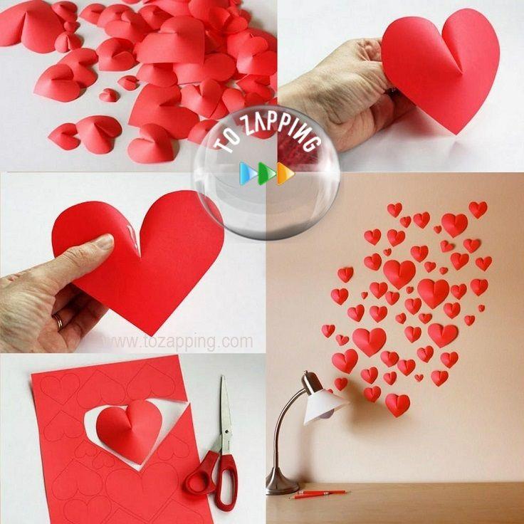 C mo hacer corazones de papel 3d decora tu pared con for Como decorar paredes con papel