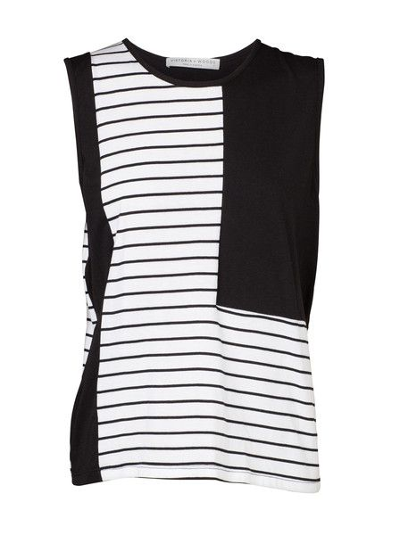 VIKTORIA & WOODS - Vegas Tank - Black - White - Stripe  $99.90