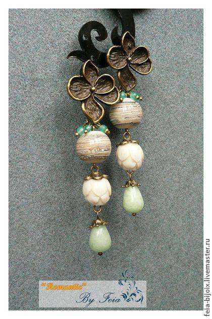 """Серьги """"Древесные цветы"""" с агатом и лемпворком - бежевый,песочный,коричневый"""