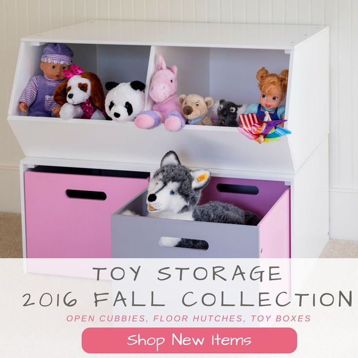 Fall 2016 Collection - Toy Storage - open cubes, floor hutches, toy boxes - organize your kid's room or playroom with solid wood toy storage