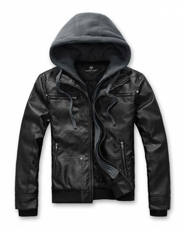 Men's Faux Leather Biker Jacket with removable hood. Check out this PU Leather Jacket for Men at discount direct purchase price. Buy direct and save $30 now! Reg $89.95! Description: Men's PU Leather