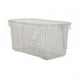 Whitefurze Handy Basket with Handle, Clear, 26cm £1.70. For storing rice pouches, & other stuff I have in ice cream containers in larder.  Don't know the width of these though  (HIL)