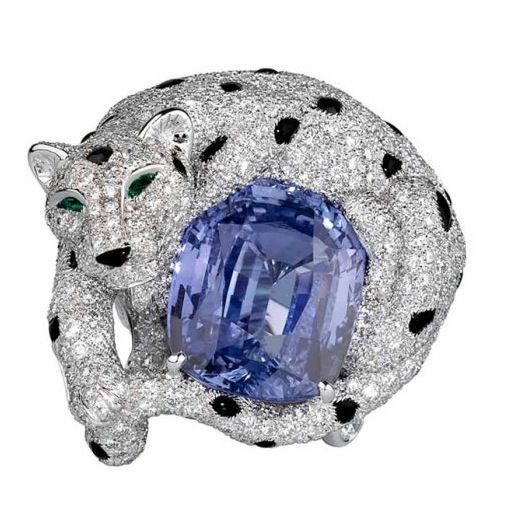 Cartier Onyx, Sapphire, Emerald and Diamond Panther Ring